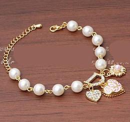 Hanging Crystal Strands Australia - New Sweet And Lovely Imitation Pearl Beads Fashion Crystal Bracelet Heart Flowers Letter D Hang Bracelets And Anklets Femal