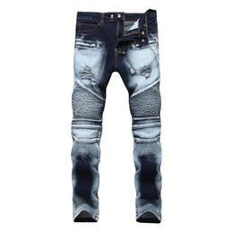 $enCountryForm.capitalKeyWord UK - Men's article high street Slim stretch jeans hole double color white Denim pants Casual Washed Cotton Fold Skinny Ripped Jeans
