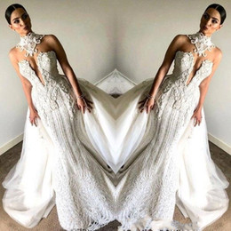 Discount lace detail wedding dresses - Fancy Lace Sleeveless Mermaid Wedding Dresses 2019 High Neck Beaded With Overskirts Plus Size Vintage Bridal Wedding Gow