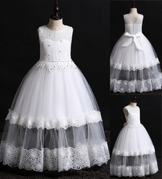 $enCountryForm.capitalKeyWord Australia - 2019 Newest Designer Kids' Dresses Lace Pearls Beaded Flower Girl Dress for Beach Wedding Little Girl Formal Wear Birthday Party Gown