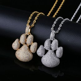 cat pendant 18k plated NZ - Fashion Paw Dog Cat Claw Pendants Micro Pave Cubic Zirconia Necklaces Gold Plated Men&Women Hiphop Jewelry