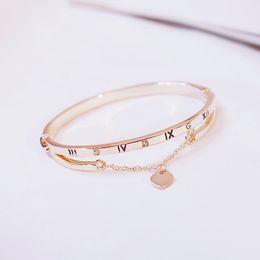 $enCountryForm.capitalKeyWord Australia - Hot Luxury Rose Gold Bracelets Bangle Female Heart Pendant Forever Love Brand Charm Bracelet for Women Crystal Bracelets Jewelry