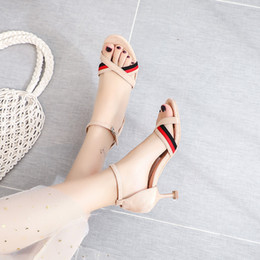 sandals pinks color Australia - Hot2019 Color Spelling Sexy One Buckle Bring Sandals Joker High-heeled Fine With Women's Shoes