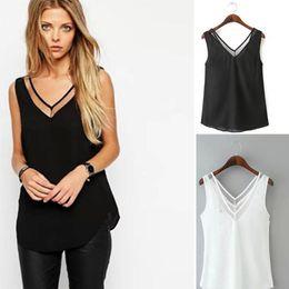 Girls Black White Shirts Australia - Women Chiffon Shirt 2019 Summer Sexy V Neck Top Girl Casual Black White Mesh Patchwork Sleeveless Blouse Harajuku Tops Plus Size