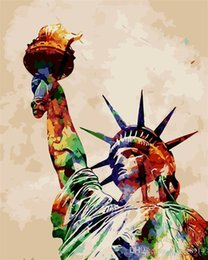 Color Diy Painting Australia - 16x20 inches DIY Vintage Color Great Statue of Liberty Paint by numbers Kit Art Paintings Acrylic Oil painting on Canvas