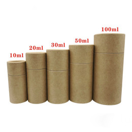cylinder perfume bottles UK - Kraft Paper Cylinder Packaging Box for 10ML 20ML 30ML 50ML 100ML Perfume Essential Oil Bottle Cosmetics Tea Gift Boxes