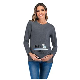 lace lycra t back NZ - Women Maternity Print Round Neck Long Sleeve Loose T-shirt Blouse