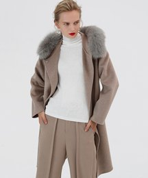 covered belts Australia - 2019 fashion x-long women wolol coats with belt fur hooded double faced slim womens blends coats