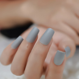 $enCountryForm.capitalKeyWord Australia - Light Grey Acrylic Nails Full Matte Effect Nail Tips Square Medium Lady Fake Nails with Adhesive Tabs 24 pcs kit
