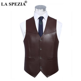 $enCountryForm.capitalKeyWord NZ - LA SPEZIA Mens Brown Vest Genuine Sheepskin Leather Waistcoat Male Business Luxury Slim Vintage Spring High Quality Gilet 4xl