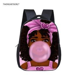 AfricAn AmericAn creAm online shopping - Twoheartsgirl Black African American Girl Magic Bookbags for Kids Art Small Kindergarten School Bags Mini Afro Girl Backpacks