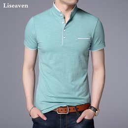 White T Shirt Red Collar Australia - Liseaven Men Mandarin Collar T-shirt Basic Tshirt Male Short Sleeve Shirt Brand New Tops&tees Cotton T Shirt J190427