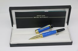 $enCountryForm.capitalKeyWord Australia - Germany brand lucky star series Unique design Roller Pen made of High grade Blue resin with Gold trim office school supply for gift pen