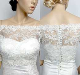 $enCountryForm.capitalKeyWord Australia - 2019 In Stock Off The Shoulder Wedding Jacket With Sleeves Bridal Lace Bolero For Evening Party Formal Dress Plus Size Custom Made