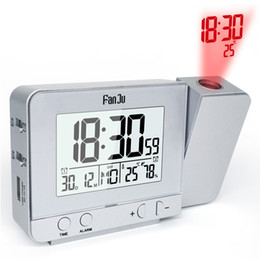 Temperature Projection NZ - Projection Alarm Clock with Temperature and Time Projection USB Charger Indoor Temperature and Humidity Desk Clock
