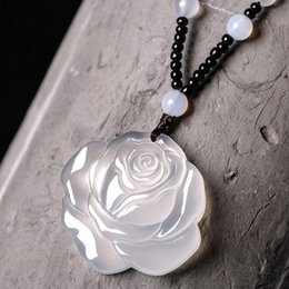 roses sweater white Australia - Natural ice white chalcedony rose pendant women's fine jade pendant sweater chain rose wholesale
