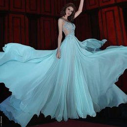 flowy floor length dress Australia - 2020 Flowy Ice Blue Said Mhamad Sweetheart Evening Dresses Spaghetti Straps Beaded Crystals Pleats Formal Prom Dresses yousef aljasmi Custom