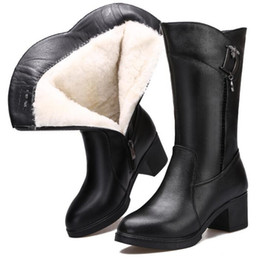 elegant heel snow boots Australia - 2019 New Winter Wool Boots Warm Snow Boot Women Shoes Comfortable Elegant Fashion Boots High Heel Shoes Genuine Leather Boots