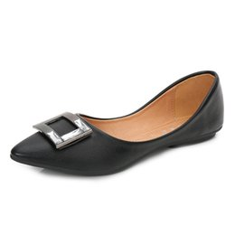 Ballet Flats Shoes Lady NZ - Plus Size Women Flats PU Leather Candy Color Pointed Toe Loafers Slip-On Office Ladies Shoes Fashion High Quality Ballet Flat Zapatos Mujer