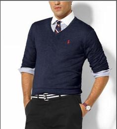 Men V Neck Polo Fashion Australia - Men's crew V-neck polo sweater men's fashion spring and autumn long-sleeved knit sweater size M-XXL