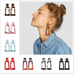 $enCountryForm.capitalKeyWord Australia - 2019 New Hot Rectangle Colorful Hoop Earrings For Women Geometry Square Design Elegant Earrings For Birthday Wedding Gift