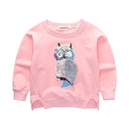 Wholesale Childrens Kids Clothes Autumn New Korean Girls T shirt Animal Owl Long Sleeve O neck Cotton Cartoon Shirt Top