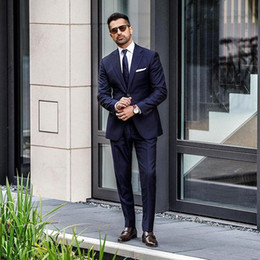 White formal suits online shopping - Vintage Navy Blue Mens Wedding Tuxedos Formal Bridegroom Suits Best Men Groom Tuxedos Suits Custom Made Business Men Work Suits Pieces