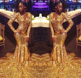 $enCountryForm.capitalKeyWord Australia - Amazing African Gold Sequined Prom Evening Dresses For Black Girls Mermaid V neck Long Sleeves Sweep Train Pageant Formal Dress Gown Cheap