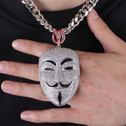 ice face mask NZ - Hip Hop White Gold Full Diamond V for Vendetta Male Leading Role Mask Portrait Chain Mens Necklace Designer Iced Out CZ Jewelry Gifts Men