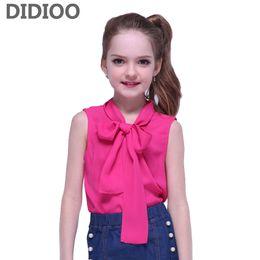 $enCountryForm.capitalKeyWord Australia - Children Tops for Girls Summer Sleeveless Chiffon Shirts for Kids Solid Tees Infant Clothing 2 8 9 10 12 14 Years Girls T-shirts