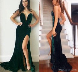 velvet brush Australia - Dark Green Mermaid Velvet Long 2019 Evening Dresses Sweetheart Sexy Split Brush Train Women Elegant Evening Gowns Black Tie Dress Custom