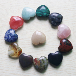 Heart Shape Flowers Australia - Charms High quality Love heart-shaped massage stone Beads 30mm Natural stone non-porous DIY Jewelry making wholesale 5pcs lot free shipping