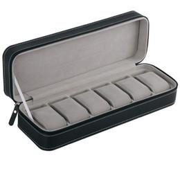 6 Слот Часы Коробка Портативный Путешествия Молния Случае Коллектор Хранения Ювелирных Изделий Ящик Для Хранения (Черный) на Распродаже