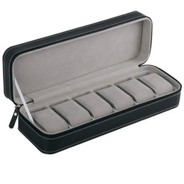 Venta al por mayor de Caja de reloj de 6 ranuras Caja de almacenamiento portátil con cremallera de viaje Caja de almacenamiento de la joyería de almacenamiento (Negro)