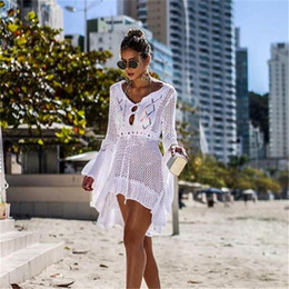 a1f653db5c 2019 Crochet White Knitted Beach Cover up Dress Tunic Long Pareos Bikinis Cover  ups Swim Cover up Robe Plage Beachwear