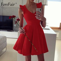 $enCountryForm.capitalKeyWord NZ - Forefair A Line Sexy Dress Summer Red Black Green Elegant Pleated V Neck Short Sleeve Ruffle Night Club Mini Party Dress Women