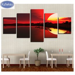 $enCountryForm.capitalKeyWord NZ - 5d diy diamond painting 5 pieces full round diamond embroidery Red Sky Lake Forest Sunset Scenery Painting rhinestones mosaic