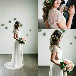 empire style wedding gowns NZ - V-Neck Spring Beach Beads Wedding Dresses 2019 Beach Chiffon Bohemian Boho Garden Country Style Vestido de novia Formal Bridal Gown BA7435