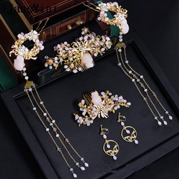 Chinese Hairpins Australia - JaneVini 2019 New Chinese Vintage Bridal Headdress with Earrings Ancient Jewelry Light Pink Hairpins Beaded Brides Wedding Hair Accessories