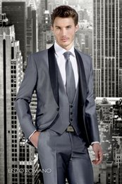 Dark Green Tie Grey Suit Australia - Fashionable Groom Tuxedos Grey Groomsmen Shawl Black Lapel Best Man Suit Wedding Men Suits Bridegroom ( Jacket+Pants+Vest+Tie ) A290