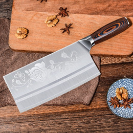 $enCountryForm.capitalKeyWord NZ - Stainless Steel Flower Pattern Meat Cleaver 8inch Chef Chinese Knife Butcher Chopper Vegetable Cutter Kitchen Knife