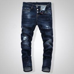 2019 Top new hot sale Mens Rasgado Motociclista Jeans Slim Fit Motociclista Motociclista Denim Para Homens Designer De Moda Hip Hop Jeans Mens venda por atacado