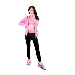 $enCountryForm.capitalKeyWord UK - Women 3 Pieces Yoga Set Pink Jacket&Bra&Black Patchwork Pants Quick Dry Girls Sportswear Running Gym Fitness Sports Clothes #970001
