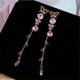 butterfly tassel earrings UK - FYUAN Long Tassel Beautiful Butterfly Drop Earrings for Women Purple Crystal Earrings Weddings Engagement Jewelry Gift