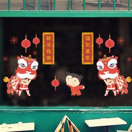 Festival Glasses Australia - lucky lion dance wall stickers chinese new year window glass decoration festival fireworks lantern wall decals store mural D19011702