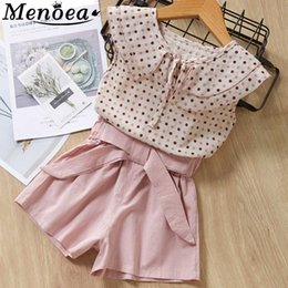 korean kids shorts NZ - Menoea Kids Suits 2020 Children Clothes Doll Korean Baby Girl Floral Shirts And Short Pants 2 pcs Girl Suits