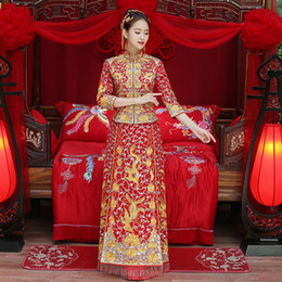 Discount phoenix clothes - Dragon gown bride wedding dress chinese style costume Phoenix cheongsam evening dress show clothing slim Style for the W