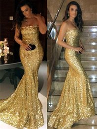 $enCountryForm.capitalKeyWord Australia - Strapless Sparkly Sequin Prom Dresses with Short Train Sleeveless Bling Bling Prom Gowns with Corset Back Closure-up Formal Occasion Dresses