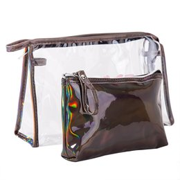 wholesale pvc cosmetic bags Australia - Hotsale Candy Color New fashion travel storage wash cosmetic bag portable female waterproof pvc transparent portable finishing square bag
