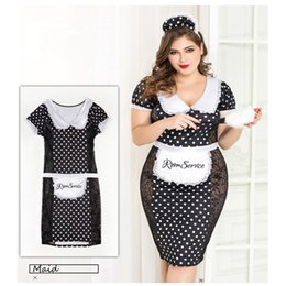 Plus Size Cosplay Outfits Australia - MQUPIN XXL Plus Size Maid Costume Cosplay Sexy Lingerie Room Service Maid Cosplay Sets Uniforms Outfits French Role Play